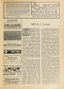 Świat : pismo tygodniowe ilustrowane poświęcone życiu społecznemu, literaturze i sztuce. R. 6 (1911), nr 43 (28 października)