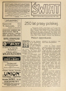 Świat : pismo tygodniowe ilustrowane poświęcone życiu społecznemu, literaturze i sztuce. R. 6 (1911), nr 42 (21 października)