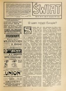 Świat : pismo tygodniowe ilustrowane poświęcone życiu społecznemu, literaturze i sztuce. R. 6 (1911), nr 46 (18 listopada)