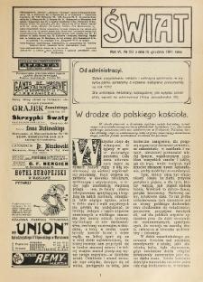 Świat : pismo tygodniowe ilustrowane poświęcone życiu społecznemu, literaturze i sztuce. R. 6 (1911), nr 50 (16 grudnia)