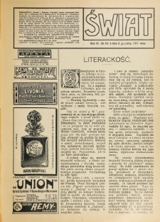 Świat : pismo tygodniowe ilustrowane poświęcone życiu społecznemu, literaturze i sztuce. R. 6 (1911), nr 49 (9 grudnia)