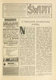 Świat : pismo tygodniowe ilustrowane poświęcone życiu społecznemu, literaturze i sztuce. R. 7 (1912), nr 6 (10 lutego)