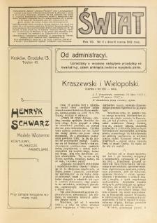 Świat : pismo tygodniowe ilustrowane poświęcone życiu społecznemu, literaturze i sztuce. R. 7 (1912), nr 11 (16 marca)