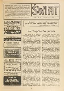 Świat : pismo tygodniowe ilustrowane poświęcone życiu społecznemu, literaturze i sztuce. R. 7 (1912), nr 25 (22 czerwca)