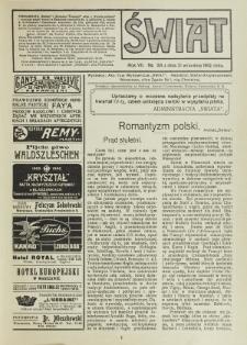 Świat : pismo tygodniowe ilustrowane poświęcone życiu społecznemu, literaturze i sztuce. R. 7 (1912), nr 38 (21 września)