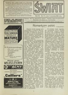 Świat : pismo tygodniowe ilustrowane poświęcone życiu społecznemu, literaturze i sztuce. R. 7 (1912), nr 37 (14 września)