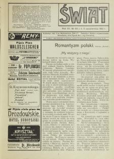 Świat : pismo tygodniowe ilustrowane poświęcone życiu społecznemu, literaturze i sztuce. R. 7 (1912), nr 40 (5 października)