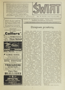 Świat : pismo tygodniowe ilustrowane poświęcone życiu społecznemu, literaturze i sztuce. R. 7 (1912), nr 50 (14 grudnia)