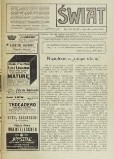 Świat : pismo tygodniowe ilustrowane poświęcone życiu społecznemu, literaturze i sztuce. R. 7 (1912), nr 52 (28 grudnia)