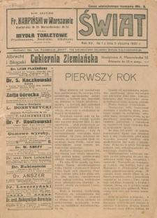 Świat : pismo tygodniowe ilustrowane poświęcone życiu społecznemu, literaturze i sztuce. R. 15 (1920), nr 1 (3 stycznia)