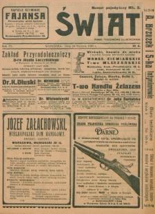 Świat : pismo tygodniowe ilustrowane poświęcone życiu społecznemu, literaturze i sztuce. R. 15 (1920), nr 4 (24 stycznia)