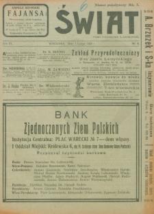 Świat : pismo tygodniowe ilustrowane poświęcone życiu społecznemu, literaturze i sztuce. R. 15 (1920), nr 6 (7 lutego)