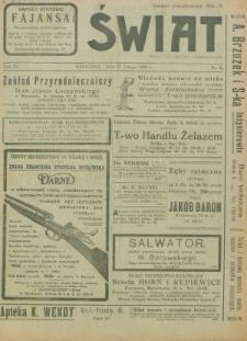 Świat : pismo tygodniowe ilustrowane poświęcone życiu społecznemu, literaturze i sztuce. R. 15 (1920), nr 8 (21 lutego)