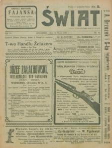 Świat : pismo tygodniowe ilustrowane poświęcone życiu społecznemu, literaturze i sztuce. R. 15 (1920), nr 12 (20 marca)