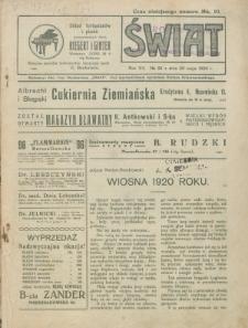 Świat : pismo tygodniowe ilustrowane poświęcone życiu społecznemu, literaturze i sztuce. R. 15 (1920), nr 22 (29 maja)