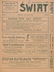 Świat : pismo tygodniowe ilustrowane poświęcone życiu społecznemu, literaturze i sztuce. R. 15 (1920), nr 23 (5 czerwca)