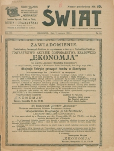 Świat : pismo tygodniowe ilustrowane poświęcone życiu społecznemu, literaturze i sztuce. R. 15 (1920), nr 25 (19 czerwca)