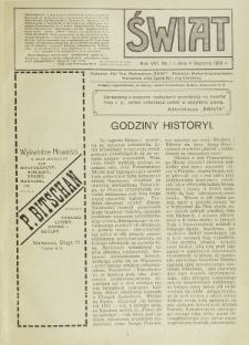 Świat : pismo tygodniowe ilustrowane poświęcone życiu społecznemu, literaturze i sztuce. R. 8 (1913), nr 1 (4 stycznia)