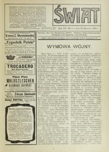Świat : pismo tygodniowe ilustrowane poświęcone życiu społecznemu, literaturze i sztuce. R. 8 (1913), nr 4 (25 stycznia)