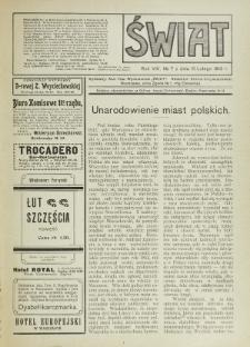 Świat : pismo tygodniowe ilustrowane poświęcone życiu społecznemu, literaturze i sztuce. R. 8 (1913), nr 7 (15 lutego)