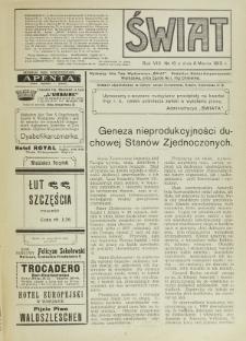 Świat : pismo tygodniowe ilustrowane poświęcone życiu społecznemu, literaturze i sztuce. R. 8 (1913), nr 10 (8 marca)