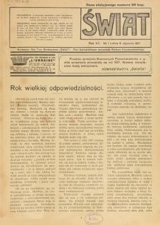 Świat : pismo tygodniowe ilustrowane poświęcone życiu społecznemu, literaturze i sztuce. R. 12 (1917), nr 1 (6 stycznia)