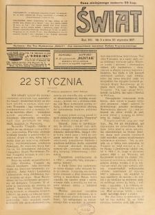 Świat : pismo tygodniowe ilustrowane poświęcone życiu społecznemu, literaturze i sztuce. R. 12 (1917), nr 3 (20 stycznia)