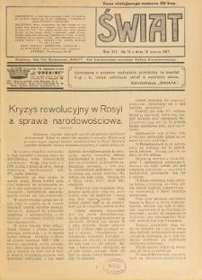 Świat : pismo tygodniowe ilustrowane poświęcone życiu społecznemu, literaturze i sztuce. R. 12 (1917), nr 13 (31 marca)