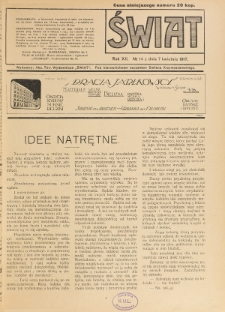 Świat : pismo tygodniowe ilustrowane poświęcone życiu społecznemu, literaturze i sztuce. R. 12 (1917), nr 14 (7 kwietnia)