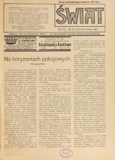 Świat : pismo tygodniowe ilustrowane poświęcone życiu społecznemu, literaturze i sztuce. R. 12 (1917), nr 17 (28 kwietnia)