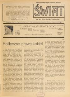 Świat : pismo tygodniowe ilustrowane poświęcone życiu społecznemu, literaturze i sztuce. R. 12 (1917), nr 22 (2 czerwca)