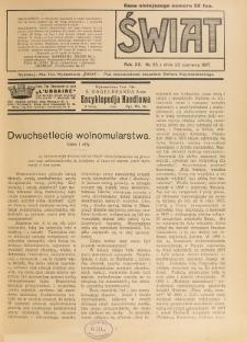 Świat : pismo tygodniowe ilustrowane poświęcone życiu społecznemu, literaturze i sztuce. R. 12 (1917), nr 25 (23 czerwca)