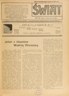 Świat : pismo tygodniowe ilustrowane poświęcone życiu społecznemu, literaturze i sztuce. R. 12 (1917), nr 30 (28 lipca)