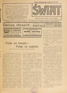 Świat : pismo tygodniowe ilustrowane poświęcone życiu społecznemu, literaturze i sztuce. R. 12 (1917), nr 31 (4 sierpnia)
