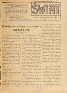 Świat : pismo tygodniowe ilustrowane poświęcone życiu społecznemu, literaturze i sztuce. R. 12 (1917), nr 32 (11 sierpnia)