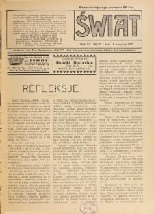 Świat : pismo tygodniowe ilustrowane poświęcone życiu społecznemu, literaturze i sztuce. R. 12 (1917), nr 33 (18 sierpnia)