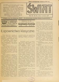 Świat : pismo tygodniowe ilustrowane poświęcone życiu społecznemu, literaturze i sztuce. R. 12 (1917), nr 35 (1 września)