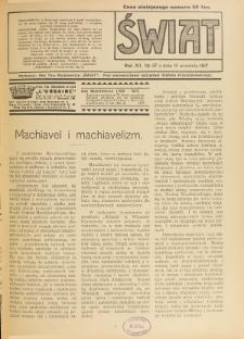 Świat : pismo tygodniowe ilustrowane poświęcone życiu społecznemu, literaturze i sztuce. R. 12 (1917), nr 37 (15 września)