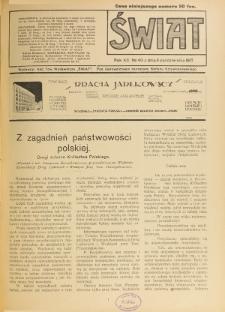 Świat : pismo tygodniowe ilustrowane poświęcone życiu społecznemu, literaturze i sztuce. R. 12 (1917), nr 40 (6 października)