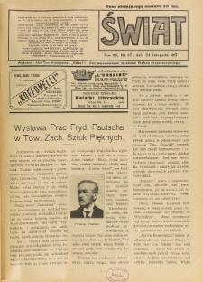 Świat : pismo tygodniowe ilustrowane poświęcone życiu społecznemu, literaturze i sztuce. R. 12 (1917), nr 47 (24 listopada)