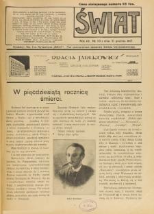 Świat : pismo tygodniowe ilustrowane poświęcone życiu społecznemu, literaturze i sztuce. R. 12 (1917), nr 50 (15 grudnia)