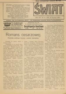 Świat : pismo tygodniowe ilustrowane poświęcone życiu społecznemu, literaturze i sztuce. R. 13 (1918), nr 3 (19 stycznia)