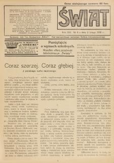 Świat : pismo tygodniowe ilustrowane poświęcone życiu społecznemu, literaturze i sztuce. R. 13 (1918), nr 5 (2 lutego)