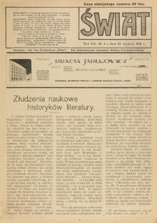 Świat : pismo tygodniowe ilustrowane poświęcone życiu społecznemu, literaturze i sztuce. R. 13 (1918), nr 4 (26 stycznia)