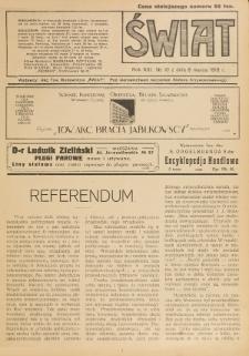 Świat : pismo tygodniowe ilustrowane poświęcone życiu społecznemu, literaturze i sztuce. R. 13 (1918), nr 10 (9 marca)