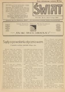 Świat : pismo tygodniowe ilustrowane poświęcone życiu społecznemu, literaturze i sztuce. R. 13 (1918), nr 6 (9 lutego)