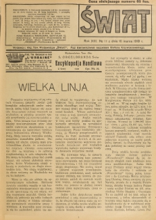 Świat : pismo tygodniowe ilustrowane poświęcone życiu społecznemu, literaturze i sztuce. R. 13 (1918), nr 11 (16 marca)