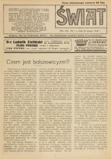 Świat : pismo tygodniowe ilustrowane poświęcone życiu społecznemu, literaturze i sztuce. R. 13 (1918), nr 7 (16 lutego)