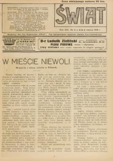 Świat : pismo tygodniowe ilustrowane poświęcone życiu społecznemu, literaturze i sztuce. R. 13 (1918), nr 9 (2 marca)