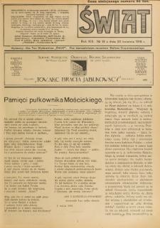 Świat : pismo tygodniowe ilustrowane poświęcone życiu społecznemu, literaturze i sztuce. R. 13 (1918), nr 16 (20 kwietnia)